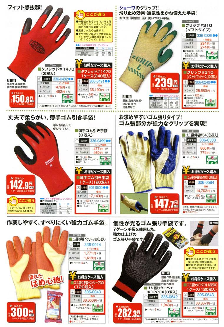 軍手各種 すべり止め・強力ゴム引き手袋 作業しやすく滑りにくい強力なグリップを実現したゴム張り手袋など多数ご用意。 手袋,軍手
